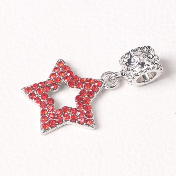 free shipping 1pc red rhinestone star bead hanging charms Fits European  Pandora Charm Bracelets B008 7eac9ef42859
