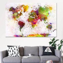 RELIABLI Abstract Art Watercolor Poster World Map Canvas Painting Wall For Living Room Bedroom Posters and Prints Home Decor