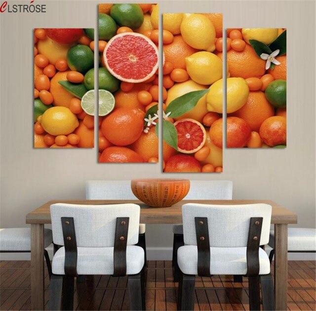 ᗕPinturas 4 paneles pared decoración para cocina frutas impreso en ...