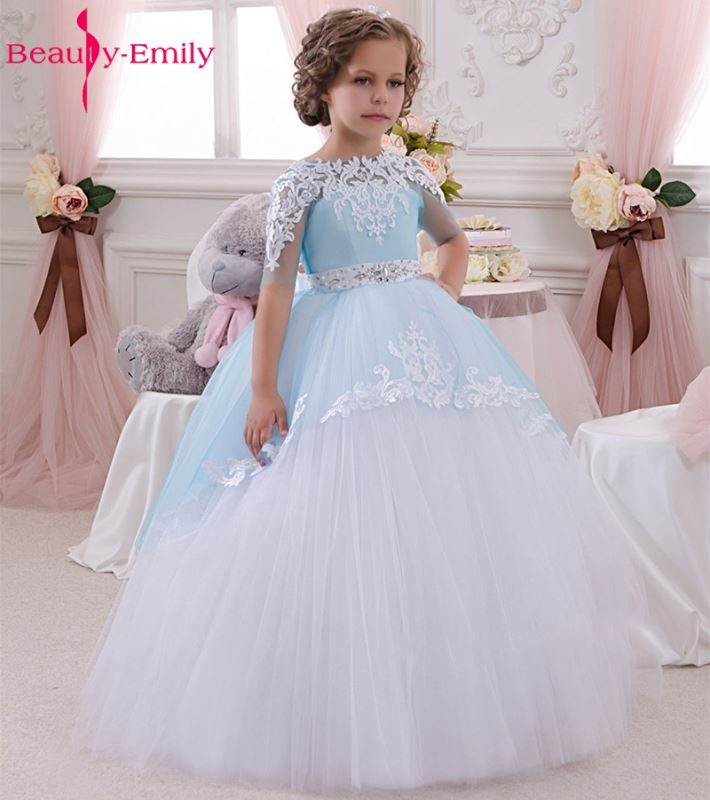 White Ivory   Flower     Girl     Dresses   Ball Gown Blue Tulle Appliques Belt Bow Lace Wedding Party   Girl   Prom   Dresses