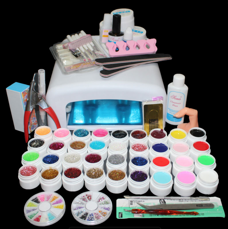 New Pro 36W UV GEL Lampu Putih & 36 Warna UV Gel Nail Art Alat Set Kit ST-111 penjualan panas lampu UV 36 sel 36W