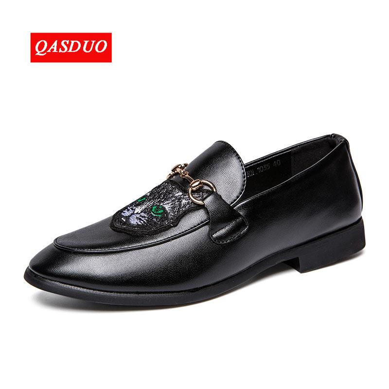 QASDUO 2018 Man Flat Classic Men Dress Shoes Genuine Leather Embroidery Italian Formal Oxford Plus Size 38-47 plus size hourglass embroidery tight dress