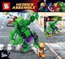 SY517AB Assembling Fit Thor&Hulk 2Pcs Minifigures Building Block Minifigure Toys Compatible with Legoe