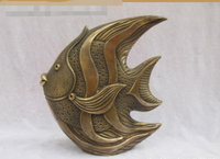 FREE SHIPPING China Bronze carve Ocean Tropical fish Art sculpture fast