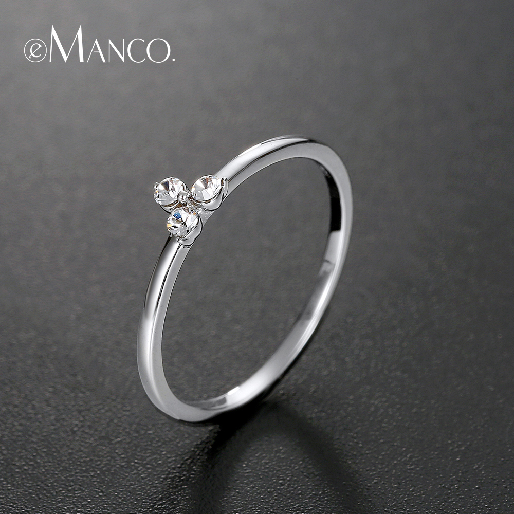 E-Manco 925 Rings For Women Sterling Silver Ring Sizes 6 7 8 Minimalist Design Finger Ring Cubic Zirconia Fine Jewelry