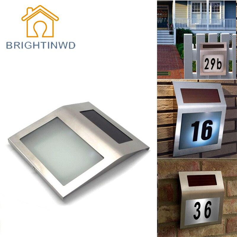 Led Solar Light Outdoor lamp garden Stainless Solar Powered 2 LEDs Illumination Doorplate Lamp House Number outdoor lighting декоративні лампи із дерева у стилі бра
