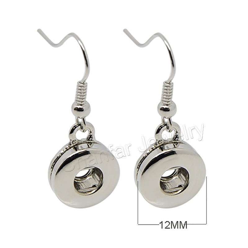 Fashion Design Changeable Snap Button Dangle Earrings Fit For 12mm Snap Buttons Earrings Hot Sale image