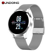 RUNDOING Q9 akıllı saat su geçirmez mesaj çağrı hatırlatma Smartwatch erkekler nabız monitörü moda spor izci