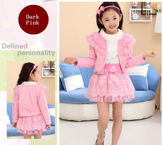 a7c6ffd74492 new 2014 girl dress girl coat blouse skirt 3pcs set lace skirt spring jacket  pink coat white shirt mini dress set