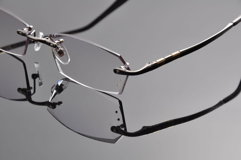 3e37489fbe DeDing Luxury Titanium Eyeglasses Rimless Men Myopia Prescription Glasses  Rhinestone High Clear Lens Men Reading Eyewear DD1263-in Eyewear Frames  from ...