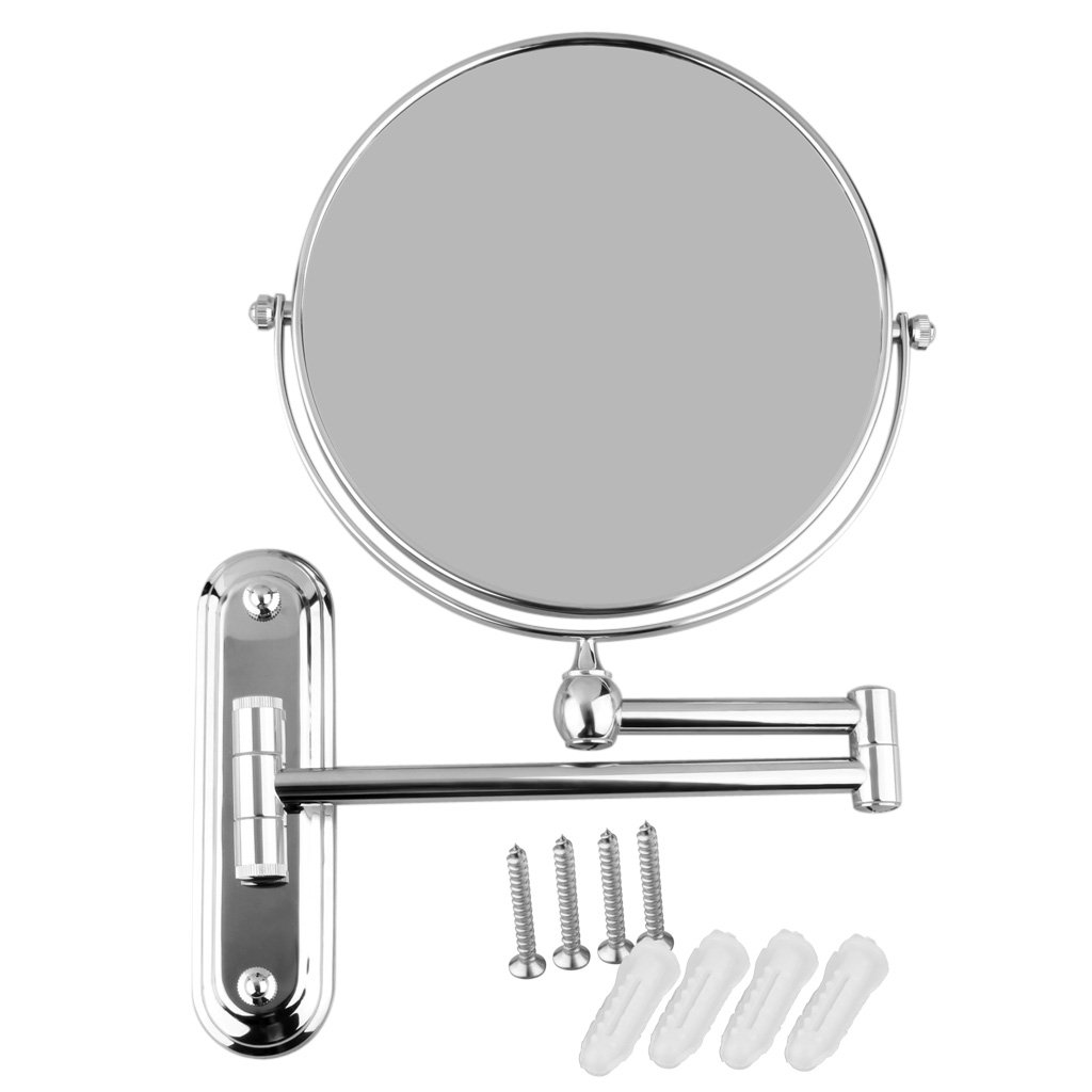 YOST Silver Extending 8 inches cosmetic wall mounted make up mirror shaving bathroom mirror 3x Magnification silver extending 8 inches cosmetic wall mounted make up mirror shaving bathroom mirror 5x magnification
