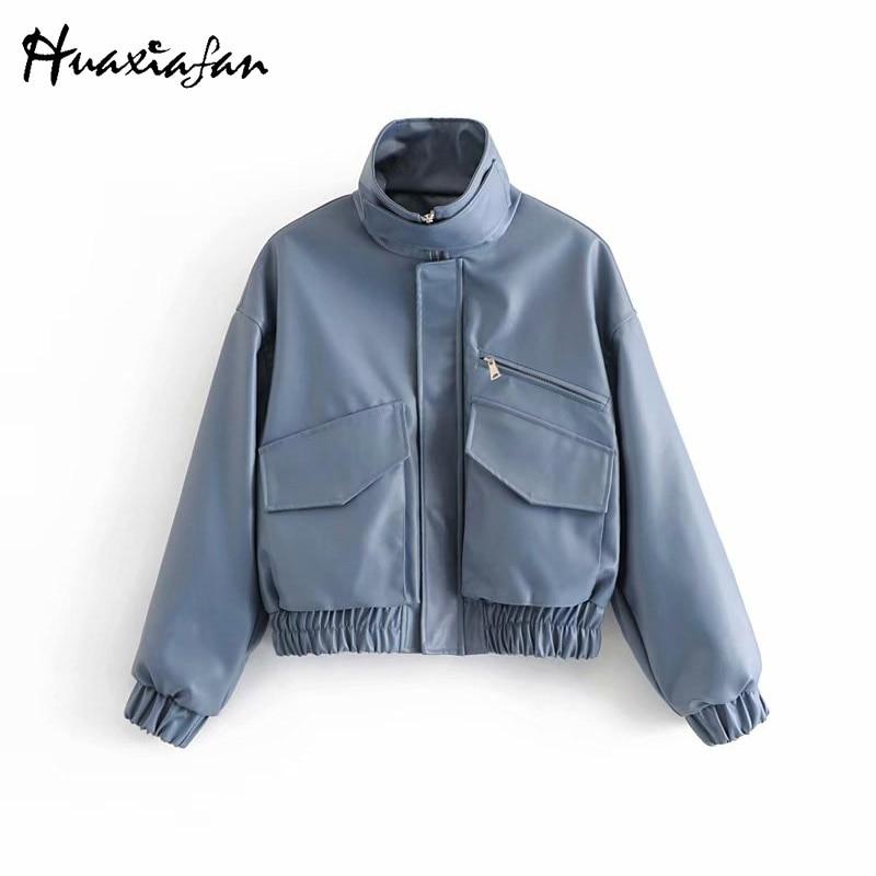 Huaxiafan Blue Thick PU   Jacket   Women Long Sleeve Zipper Windproof Coat Top 2018 Fashion Autumn Winter   Basic     Jacket   Outwear