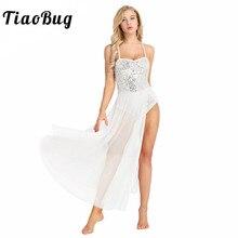 TiaoBug Vrouwen Mouwloze Mesh Shiny Lovertjes Ballet Jurk Volwassen Dans Turnpakje Jurk Ballerina Party Stage Lyrische Dans Kostuums