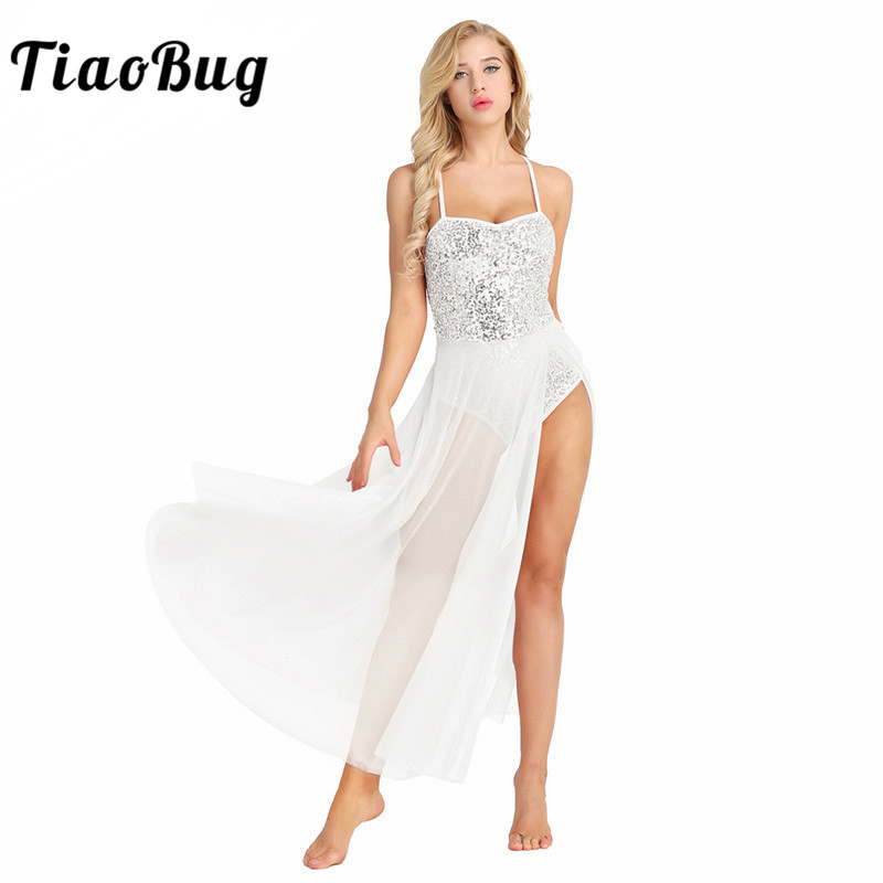 TiaoBug Women Sleeveless Mesh Shiny Sequined Ballet Dress Adult Dance Leotard Dress Ballerina Party Stage Lyrical Dance Costumes