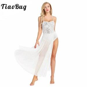 Image 1 - Женское балетное платье с блестками TiaoBug, Сетчатое блестящее балетное платье без рукавов, танцевальное трико для взрослых, балерина, для вечеринки, для сцены