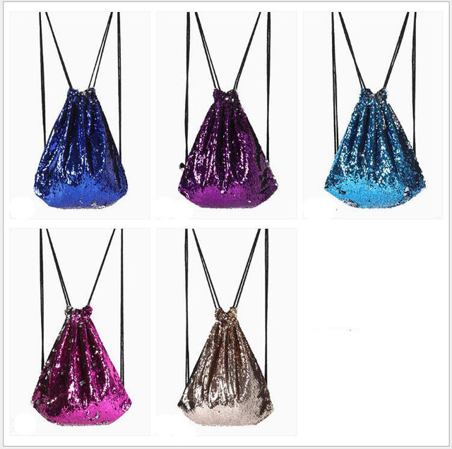 Cotton Fabric Bag Fashion Outdoor Roses Sport Casual Sequins Unisex Chest Bag Preppy Style Belt Riding Backpack Drawstring Bags.