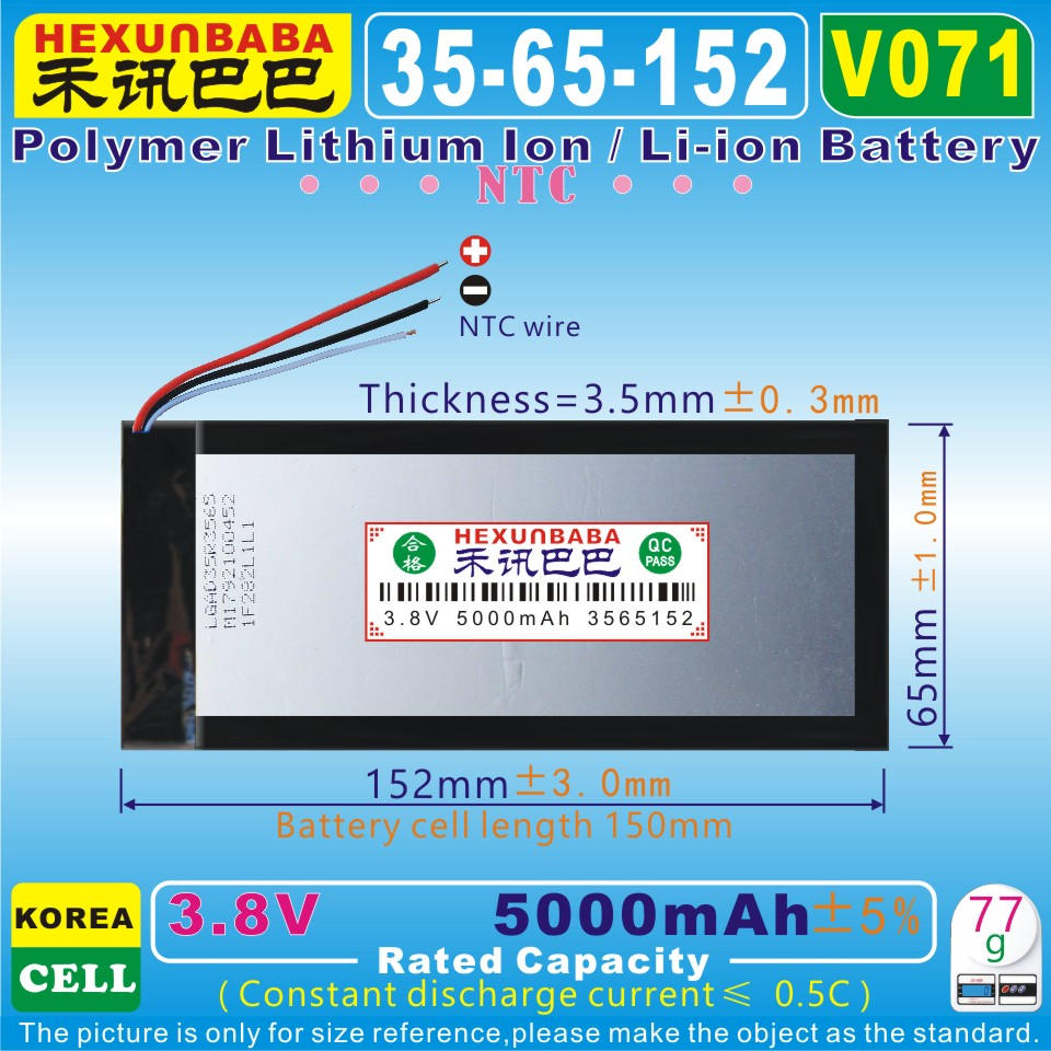 Power Bank Neue Mode 3,7 V 5000 Mah v071 3,8 V 3565152 Handy; Bl-t17 Zelle Ntc; Polymer Lithium-ion/li-ion Batterie Für Tablet Pc