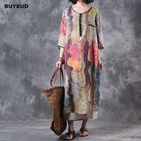BUYKUD Vintage Linen Women Dress Summer Loose Casual Maxi Dress Autumn 2018 MultiColor O Neck Three Quarter Sleeve Mom Dresses