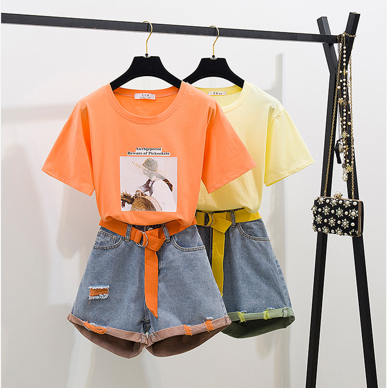 2019 Summer Fashion Neon Twinset Women Patchwork Strap Short Sleeve Cotton T-Shirt + Hole Short Jeans Set 2PCS Clothing Set