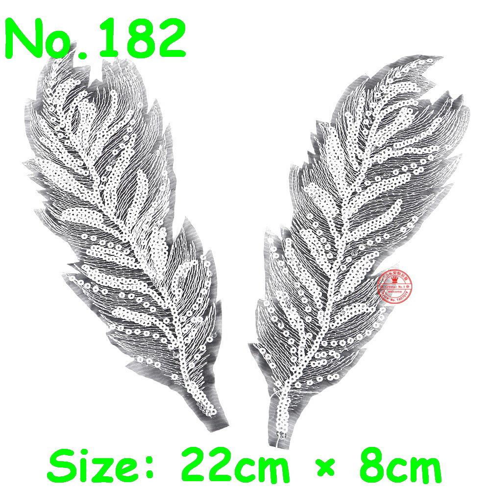 1 Pair = 2 Pieces Feather Patches Sew-on Gold Sliver Wing Sequine Patch Flower Motif 3D Applique DIY Dress Clothes Wedding Patch