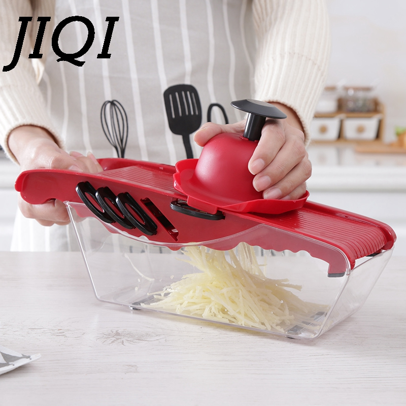 JIQI Household Vegetable cutters Vegetable Slicer multifunctional food cutter with 6 Stainless Steel Cutting Blades Handguards jiqi household slicer cutter blenders multifunctional grinder fruit and vegetable cutters water ice salad maker with 5 cutters