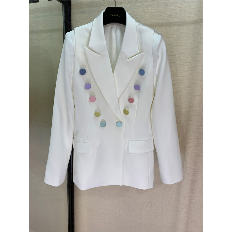 2109 Fashion, New Color Buttons, White Suit, Wool Blend, Suit, Fashion, Work Style.