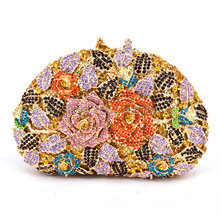 Designer Floral Top Quality Luxury Handbags Women Bags Crystal Evening Clutches Wedding Purses Ladies Dinner Party