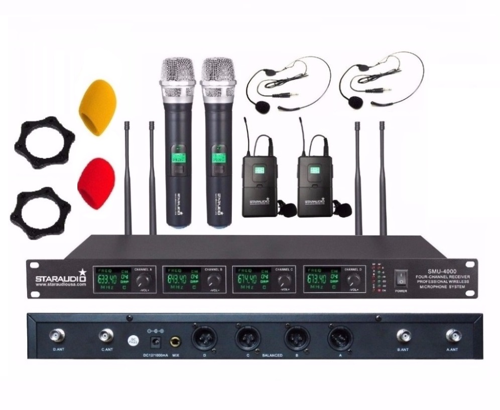STARAUDIO Professional  DJ Karaoke UHF Wireless  Microphone System with 4 Channel Handheld and Headset Mic SMU-4000A+B general packaging single channel uhf vocal wireless microphone professional for ktv karaoke stage dj singing microphone pgx4