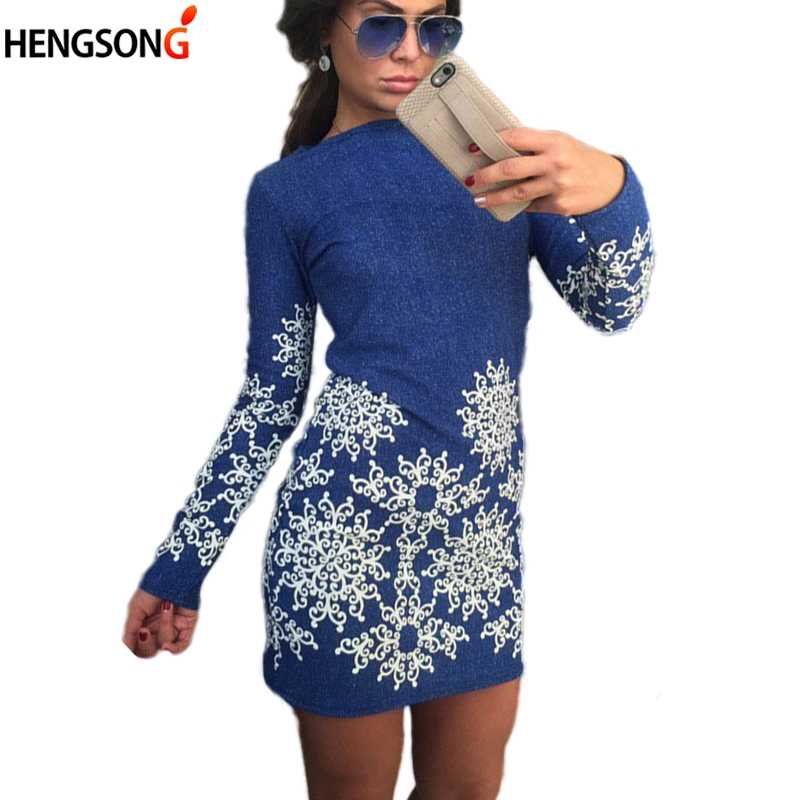 bcf439ded170e Women Party Dress Vestidos 2018 New Spring Long Sleeve Floral Dress Ladies  Office Bodycon Slim Mini