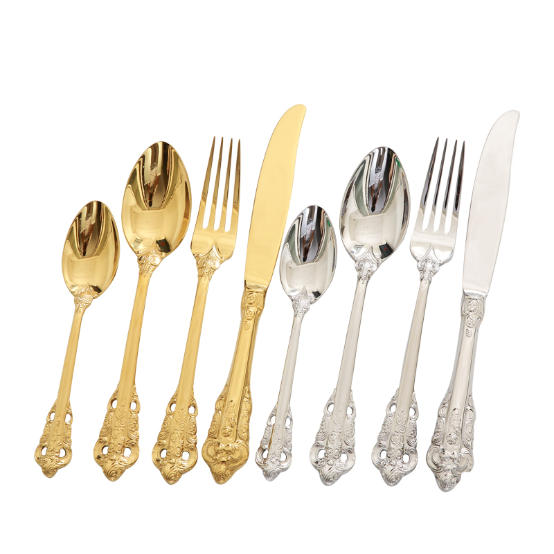 knife Fork Set Royal Luxury Gold Table Cutlery Set Tableware Dinnerware 18 10 Stainless Steel Dining Fork Spoon Knife Set 3 Pcs in Dinnerware Sets from Home Garden