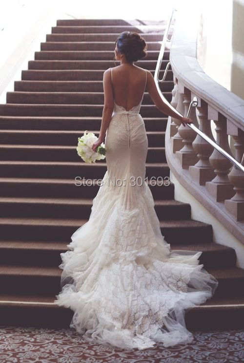 Oumeiya OW323 Custom Made Low Cut Back Sexy Mermaid Lace Wedding Dresses 2016 In From Weddings Events On Aliexpress