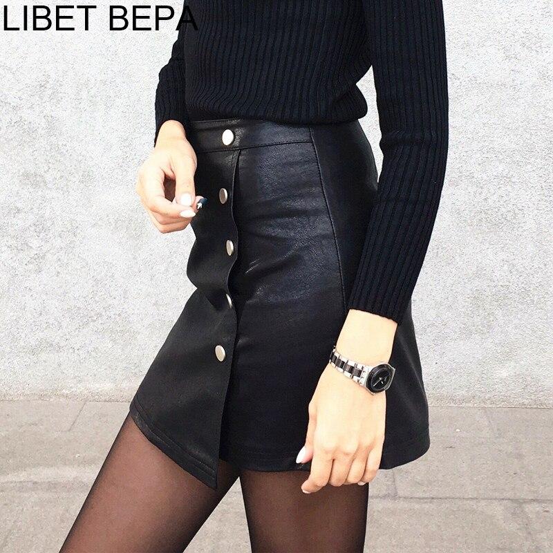 New Arrival 2019 Spring Women PU leather Mini Skirt A Line Buttons High Street Skater Skirt High Waist Elegant Femininas SK8702|Skirts|   - AliExpress