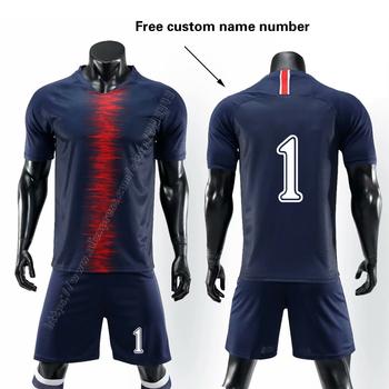 Projekt zestaw piłkarski dla dorosłych koszulka piłkarska dla dziecka szkolenia piłki nożnej zestawy puste wersja niestandardową nazwę numer Logo Jersey szorty tanie i dobre opinie NoEnName_Null Chłopcy Poliester Pasuje prawda na wymiar weź swój normalny rozmiar