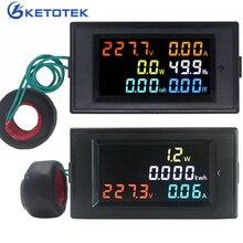 Вольтметр переменного тока Амперметр измеритель энергии переменного тока 80,0-300,0 в/переменного тока 200,0-450,0 в 0,01-100A HD цветной экран 180 градусов безупречный светодиодный