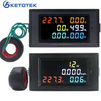 AC Voltmeter Ammeter Power Energy Meter AC 80.0-300.0V/AC 200.0-450.0 V 0.01-100A HD Color Screen 180 Degrees Flawless LED