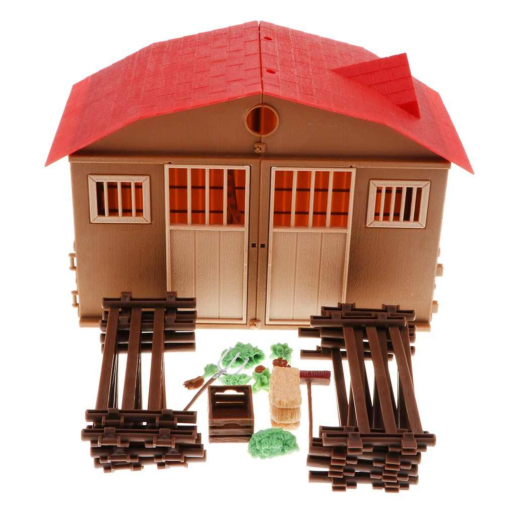 Plastic DIY Assembling Farm Cabin Scene Building Construction Kits Kids Creative Toy Birthday Gifts