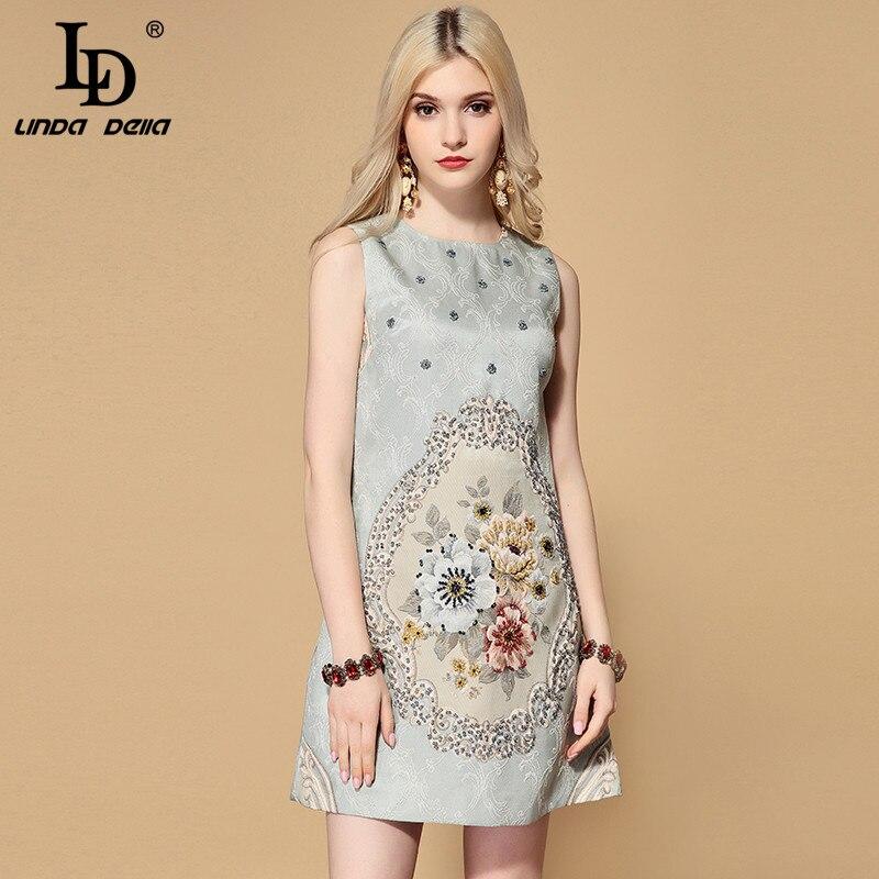 Kadın Giyim'ten Elbiseler'de LD LINDA DELLA 2019 Moda Pist Sonbahar Vintage Elbise kadın Kolsuz Muhteşem Boncuk Çiçek Jakarlı Kısa Elbise vestidos'da  Grup 1