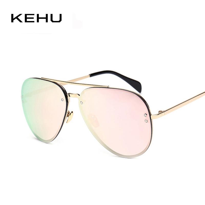 KEHU Mulheres óculos de sol da marca designer Liga Duplo-Ponte Moda  revestimento de óculos de Sol Do espelho Do Vintage H1630 f56071108d
