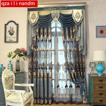 European tulle Style Royal Blue Luxury curtains for Living Room window curtain Bedroom Window kitchen/Hotel
