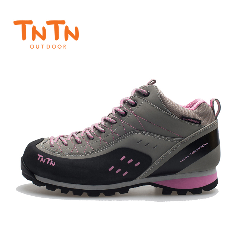 2017 TNTN Outdoor Autumn And Winter Leather Breathable Women Walking Hiking Climbing Mountain Running Shoes Women Shoes