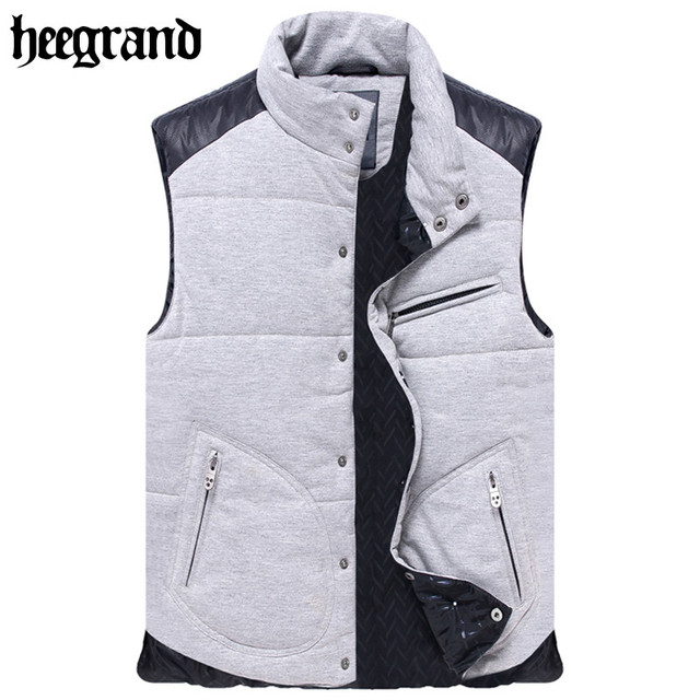 481003f36a8 HEE GRAND 2017 New Winter Casual Spliced Color Vest Coats Leisure Cotton  Warm Large Size Vests