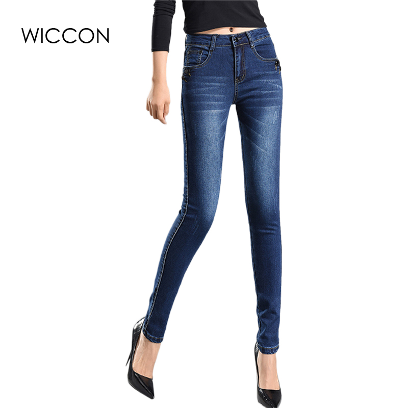 цены  Slim Jeans For Women Skinny High Waist Jeans Woman Blue Denim Pencil Pants Stretch Women Jeans Pants Calca Feminina WICCON
