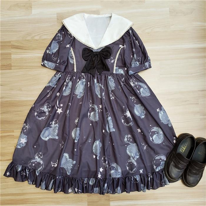 Naval collar Kawayi Lolita Dresses Glass jellyfish Printed Princess Dress 2018 Summer New Arrival