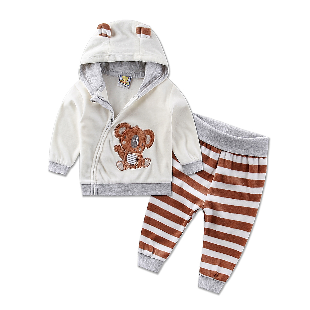 2019 new hot children sports girls boys set velvet casual winter spring warm hooded zipper long sleeve outfits baby kid clothes-in Clothing Sets from Mother & Kids