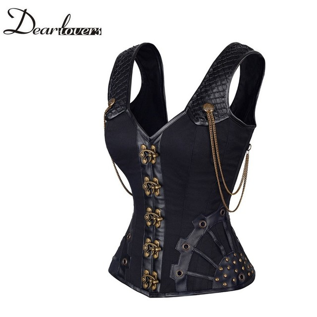 Dear lover Sexy Steampunk Corset 2016 Vintage Brass Chain Detail 12 Steel Bone Overbust Corset Espartilhos E Corpetes LC50004