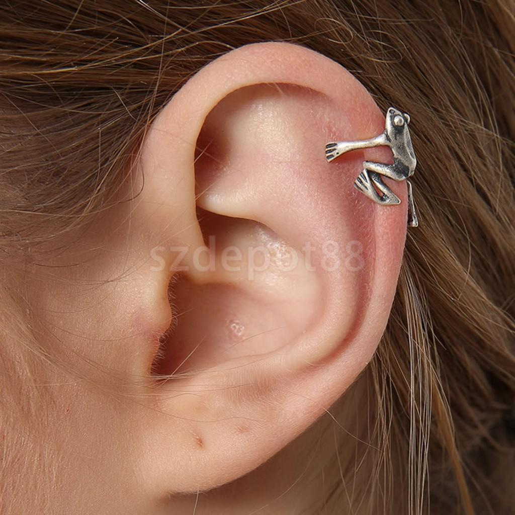 High Quality 925 Sterling Silver Frog Cuff Ear Clip Ear Wrap Earring Women Men Punk Gothic Jewelry Gift