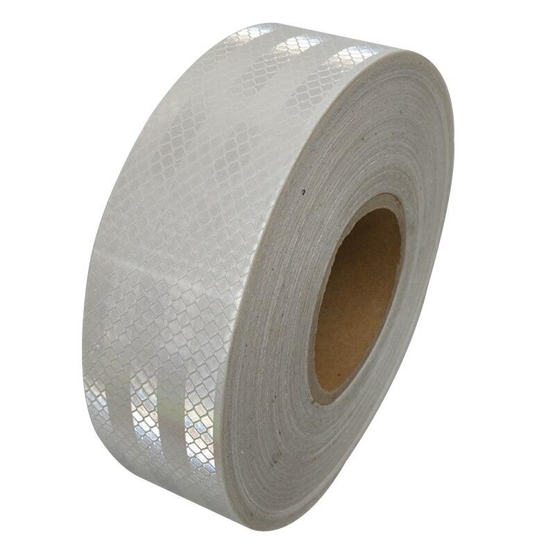 5 см * 45 м светоотражающие ленты безопасности Предупреждение знак тела наклейки ПЭТ белый решетки полоски клей износостойкий водонепроница...