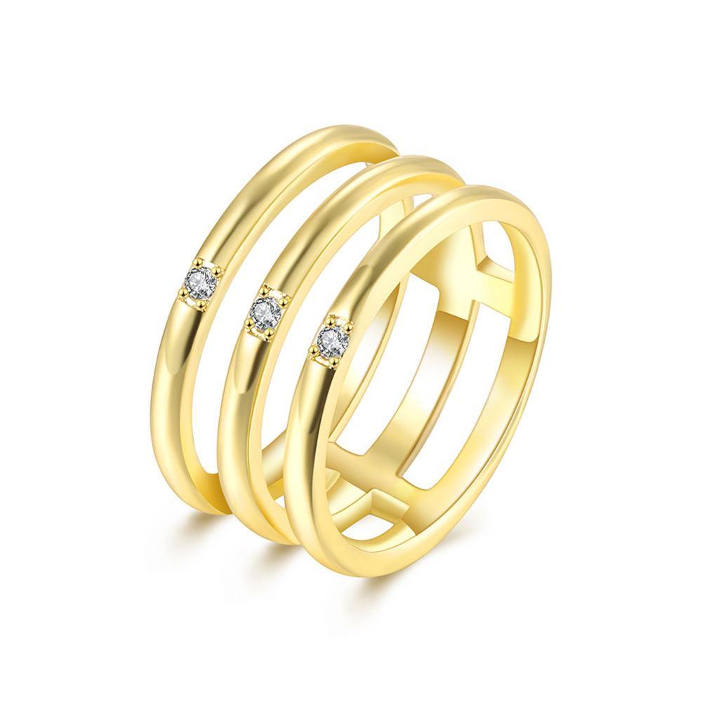 Desain Baru Kuning Emas Rose Gold Tiga Lingkaran Tertutup Soket Ic Premium 8 Pin Round Hole Lubang Bulat Type Plate Cincin Dengan Zirkon Untuk Wanita Pria Partai Anniversary Terbaik Jual Perhiasan
