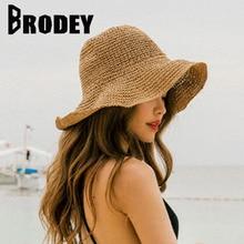Mujeres de verano de paja sombrero de sol 2019 dulce Retro plegable  sombreros de paja playa Sombreros de Panamá capeu Feminino v. 338a14a957b