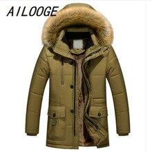 AILOOGE Clothing Winter Men Jacket Fashion Mens Winter Parka With Fur Hood Casual Warm Men's Coats Thick Long Parkas Homme 5XL